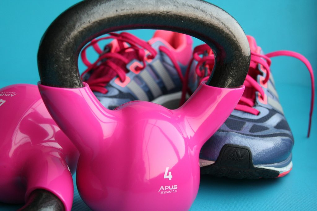 Kettlebell and running shoes